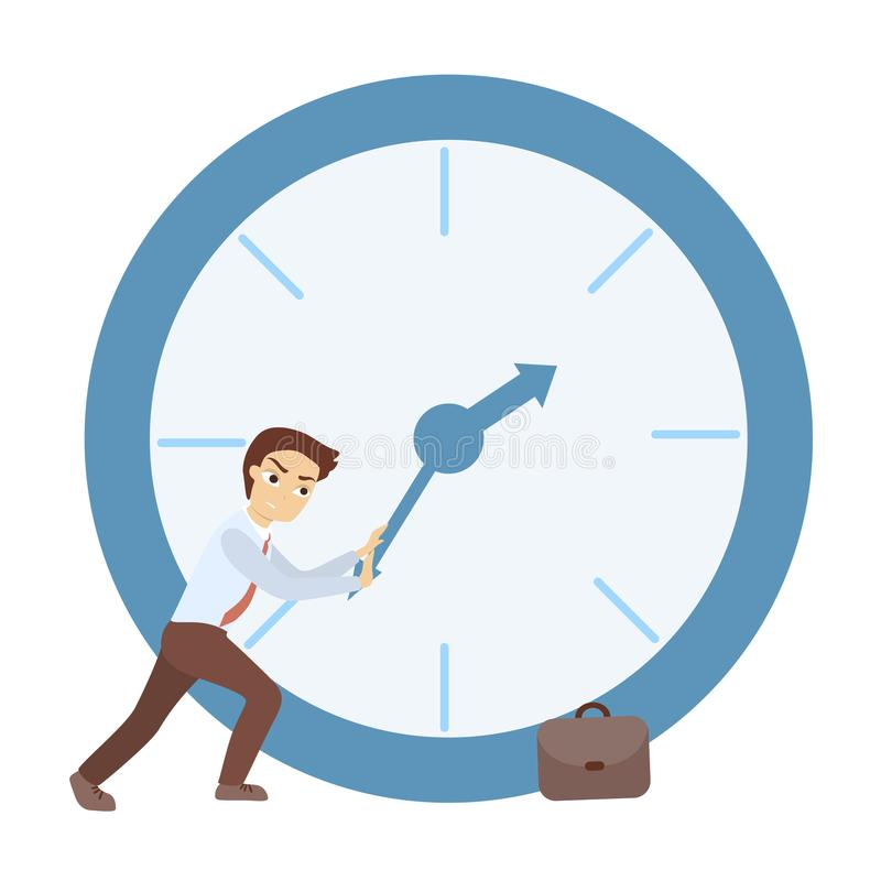 Time management concept. Man trying to delay time royalty free illustration