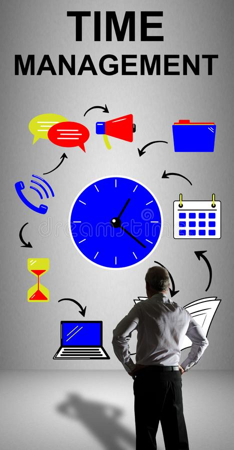 Time management concept watched by a businessman. Businessman watching a time management concept drawn on a wall stock illustration