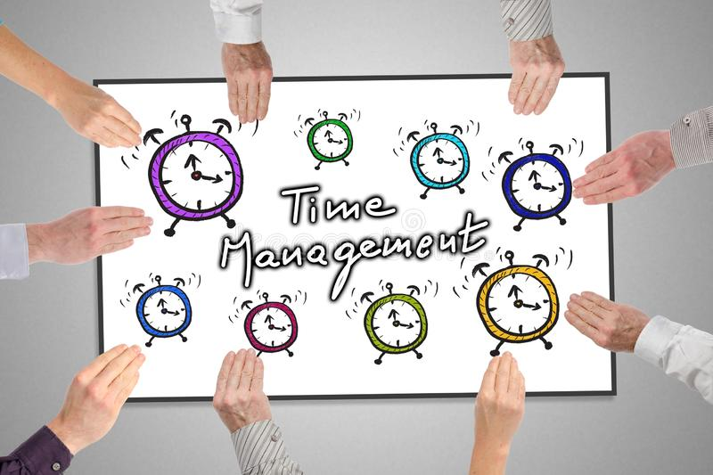 Time management concept on a whiteboard. Held by hands stock illustration