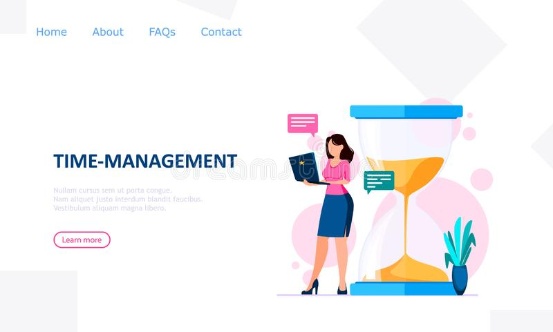 Time management concept. Woman with notebook stands near big hourglass. Usable for landing page, website and other. Vector illustration stock illustration