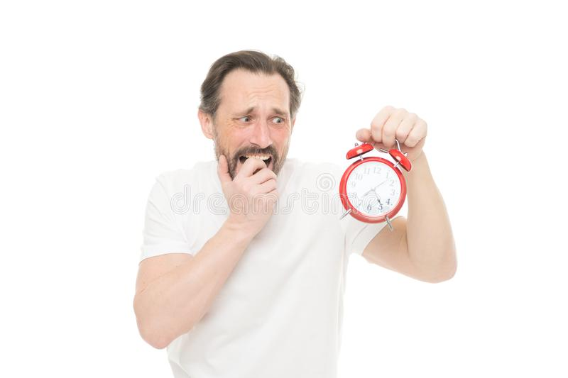 Time management and discipline. Punctuality and responsibility. Man with clock on white background. Hate being late. Man. Hold alarm clock in hand. Guy bearded royalty free stock photos
