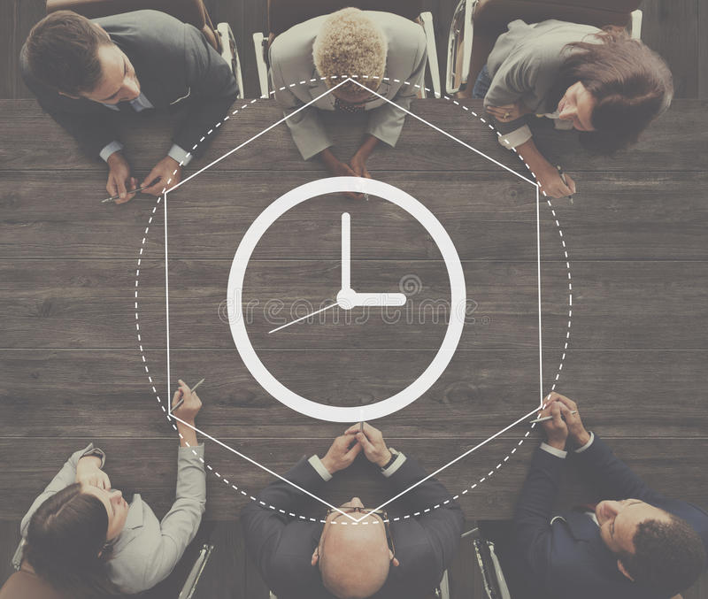 Time Management Duration Interval Graphic Concept. Business People Meeting Time Management Duration Interval Graphic stock images