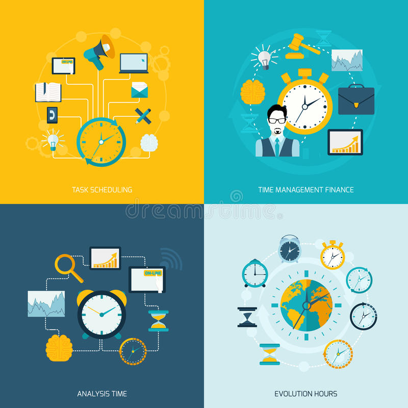 Time management flat icons stock illustration
