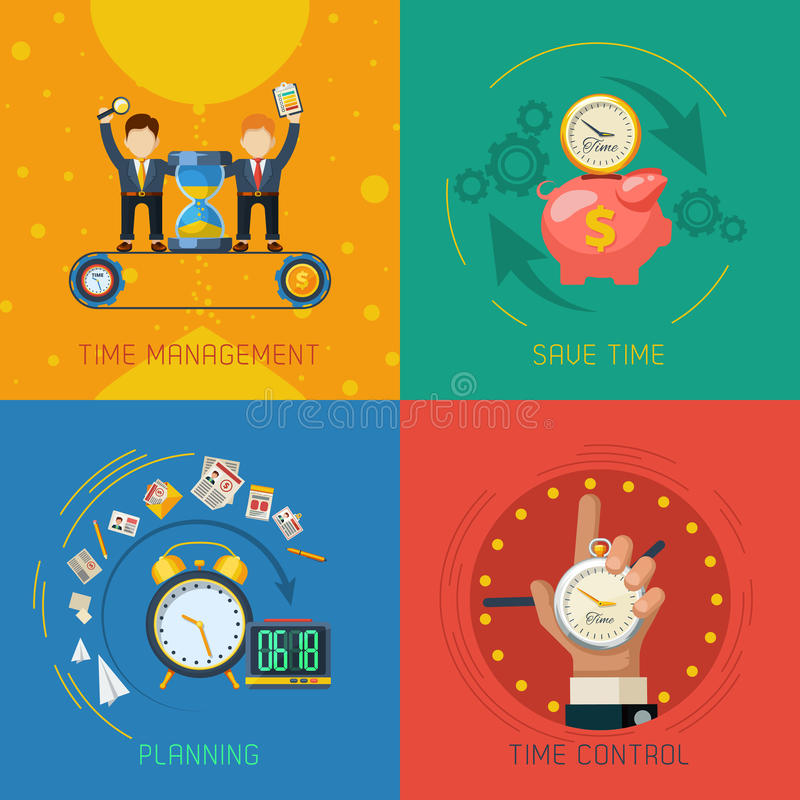 Time Management Flat Icons Square Composition stock illustration