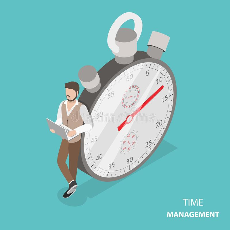 Time management flat isometric vector concept. Stylish young man is standing with his laptop near the stopwatch leaning at it stock illustration