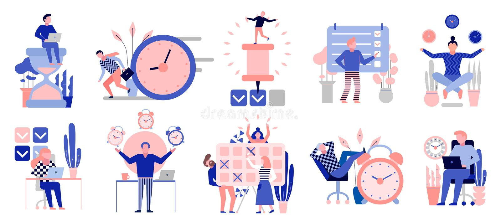 Time Management Flat Set stock illustration