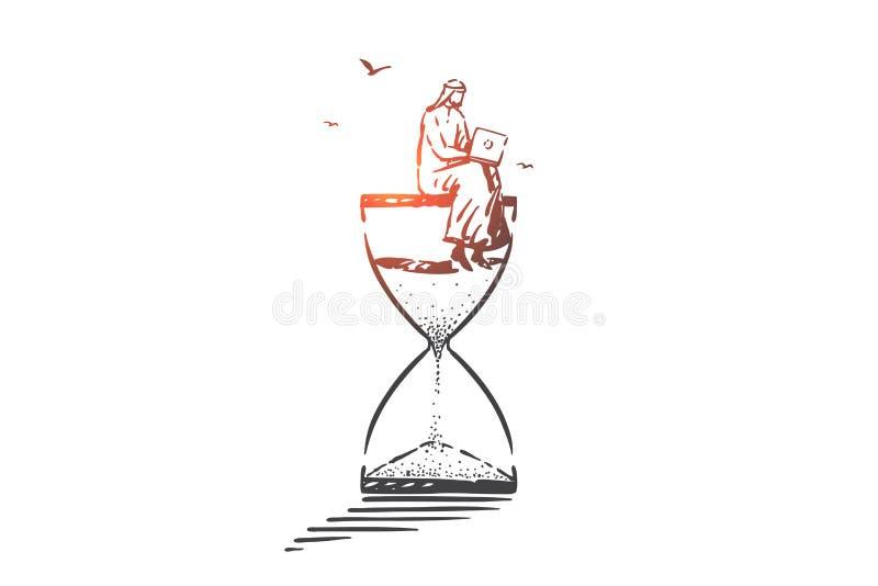 Time management, freelance concept sketch. Hand drawn isolated vector. Time management, freelance concept sketch. Distance job, modern recreation, time online stock illustration