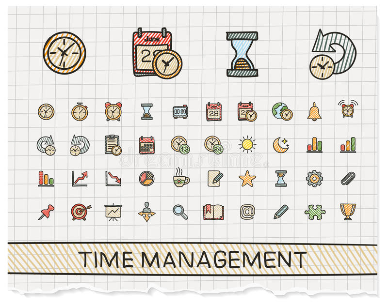 Time management hand drawing line icons. royalty free illustration