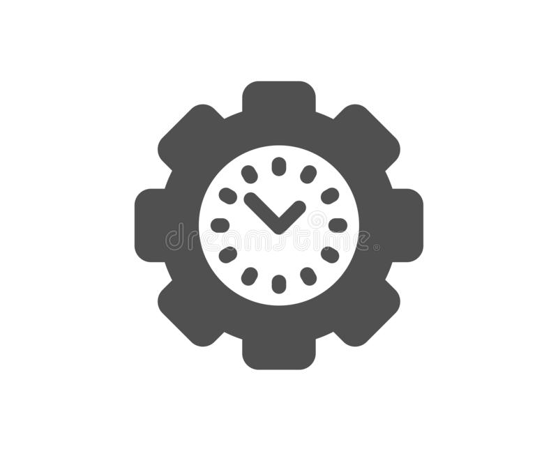 Time management icon. Clock sign. Gear. Vector. Clock sign. Time management icon. Gear symbol. Classic flat style. Simple time management icon. Vector stock illustration