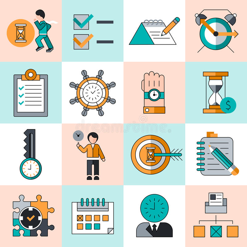 Time management icons flat line. Time management work productivity successful manager flat line icons set isolated vector illustration royalty free illustration