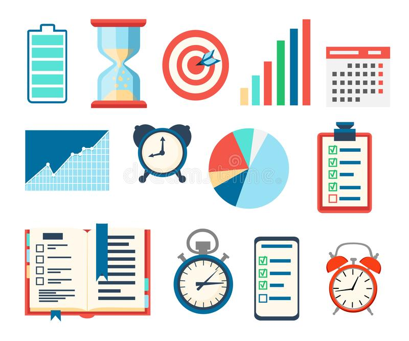 Time management icons set. Charts analysis and optimization goal, schedule, battery, indicators, calendar. Vector illustration iso stock illustration