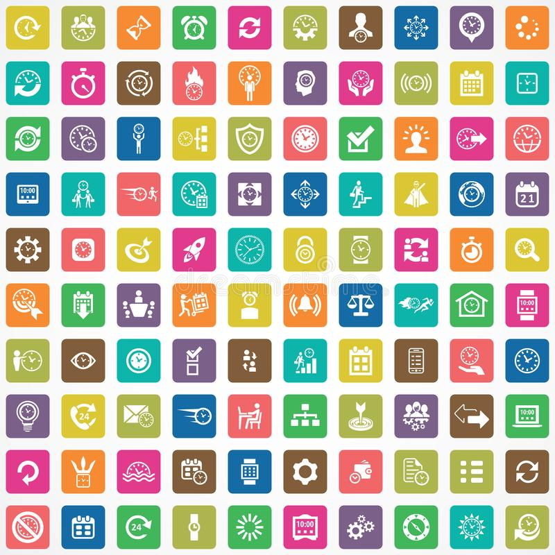 Time management 100 icons universal set. For web and mobile stock illustration