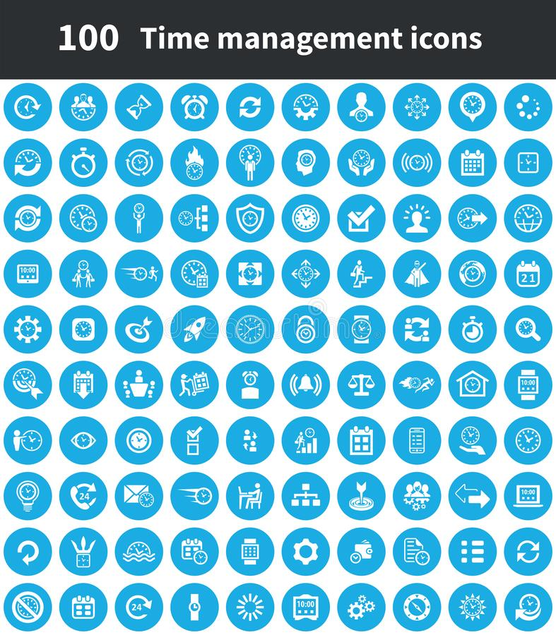 Time management 100 icons universal set. For web and mobile royalty free illustration