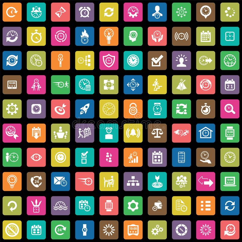 Time management 100 icons universal set. For web and mobile vector illustration