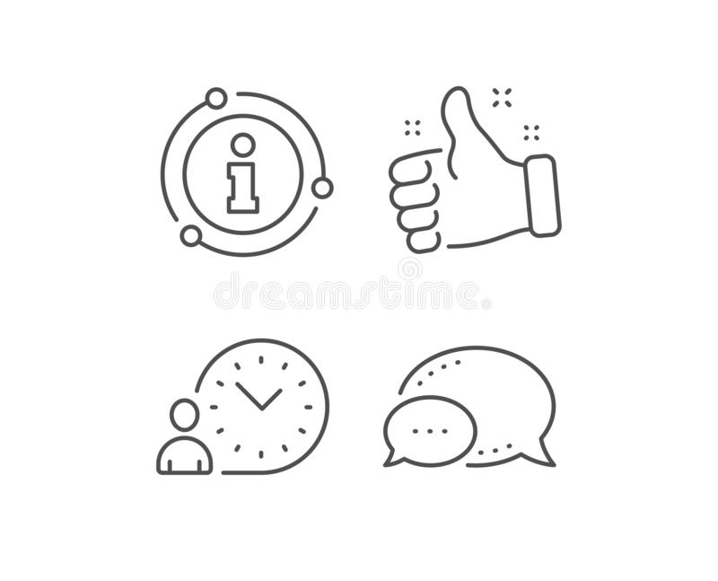 Time management line icon. Clock sign. Vector. Time management line icon. Chat bubble, info sign elements. Clock sign. Linear time management outline icon stock illustration