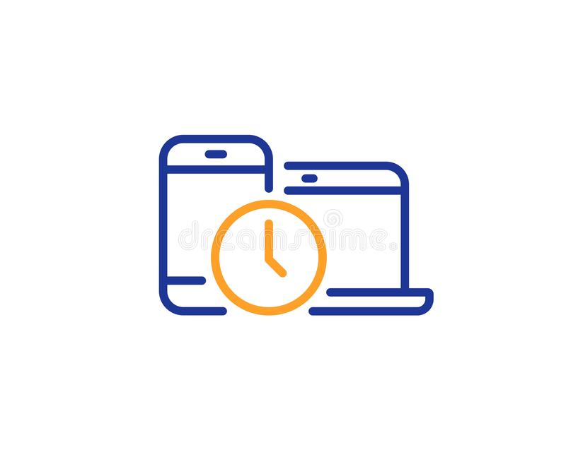 Time management line icon. Clock sign. Mobile devices. Vector. Clock sign. Time management line icon. Mobile devices symbol. Colorful outline concept. Blue and vector illustration