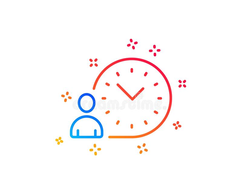 Time management line icon. Clock sign. Vector. Time management line icon. Clock sign. Gradient design elements. Linear time management icon. Random shapes vector illustration