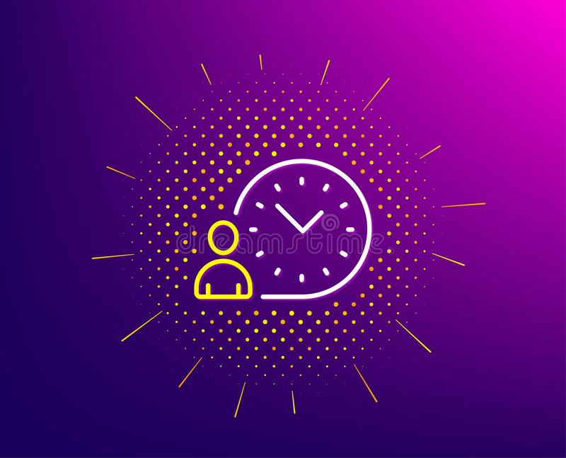 Time management line icon. Clock sign. Vector. Time management line icon. Halftone pattern. Clock sign. Gradient background. Time management line icon. Yellow vector illustration
