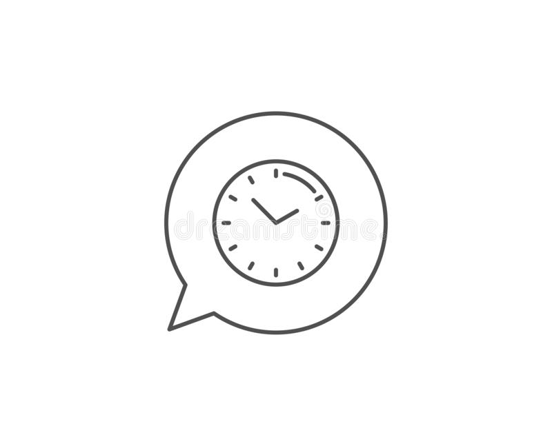 Time management line icon. Clock sign. Watch. Vector. Time management line icon. Chat bubble design. Clock sign. Watch symbol. Outline concept. Thin line time stock illustration