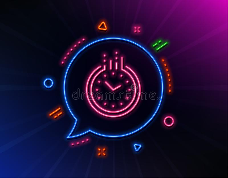 Time management line icon. Clock sign. Watch. Vector. Time management line icon. Neon laser lights. Clock sign. Watch symbol. Glow laser speech bubble. Neon vector illustration