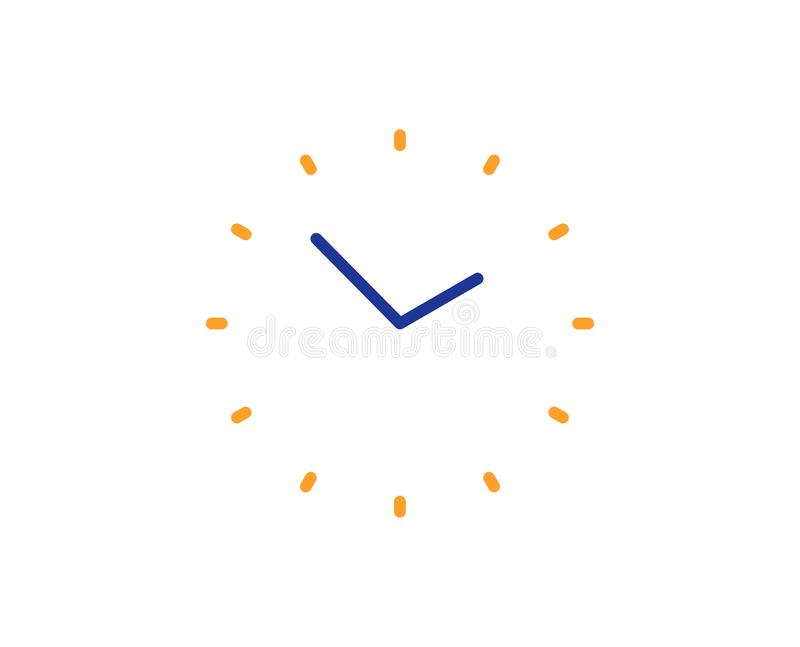 Time management line icon. Clock sign. Watch. Vector. Clock sign. Time management line icon. Watch symbol. Colorful outline concept. Blue and orange thin line stock illustration