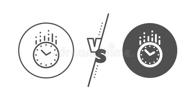 Time management line icon. Clock sign. Watch. Vector. Clock sign. Versus concept. Time management line icon. Watch symbol. Line vs classic time icon. Vector stock illustration
