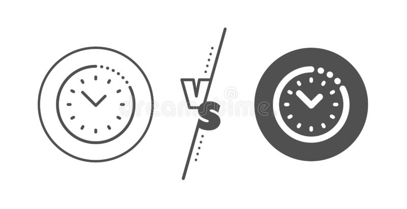 Time management line icon. Clock sign. Watch. Vector. Clock sign. Versus concept. Time management line icon. Watch symbol. Line vs classic time management icon royalty free illustration