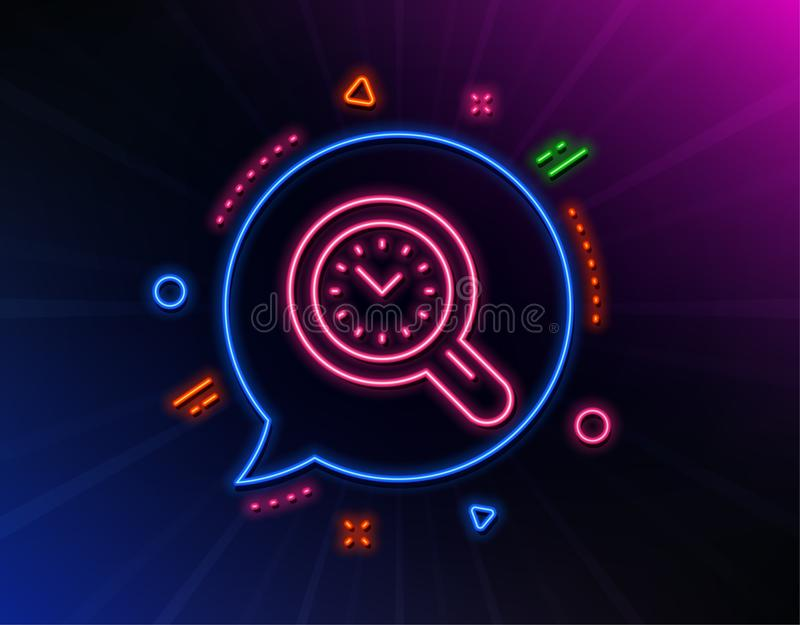 Time management line icon. Clock sign. Work analysis. Vector. Time management line icon. Neon laser lights. Clock sign. Work analysis symbol. Glow laser speech royalty free illustration