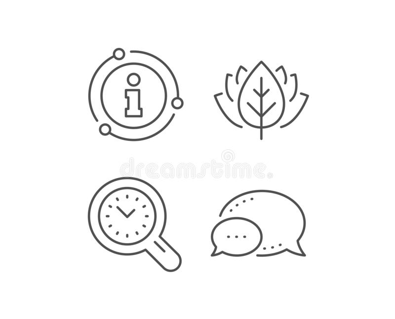 Time management line icon. Clock sign. Work analysis. Vector. Time management line icon. Chat bubble, info sign elements. Clock sign. Work analysis symbol royalty free illustration