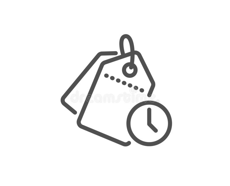 Time management line icon. Clock tags sign. Watch. Vector. Time management line icon. Clock tags sign. Watch symbol. Quality design element. Linear style time stock illustration