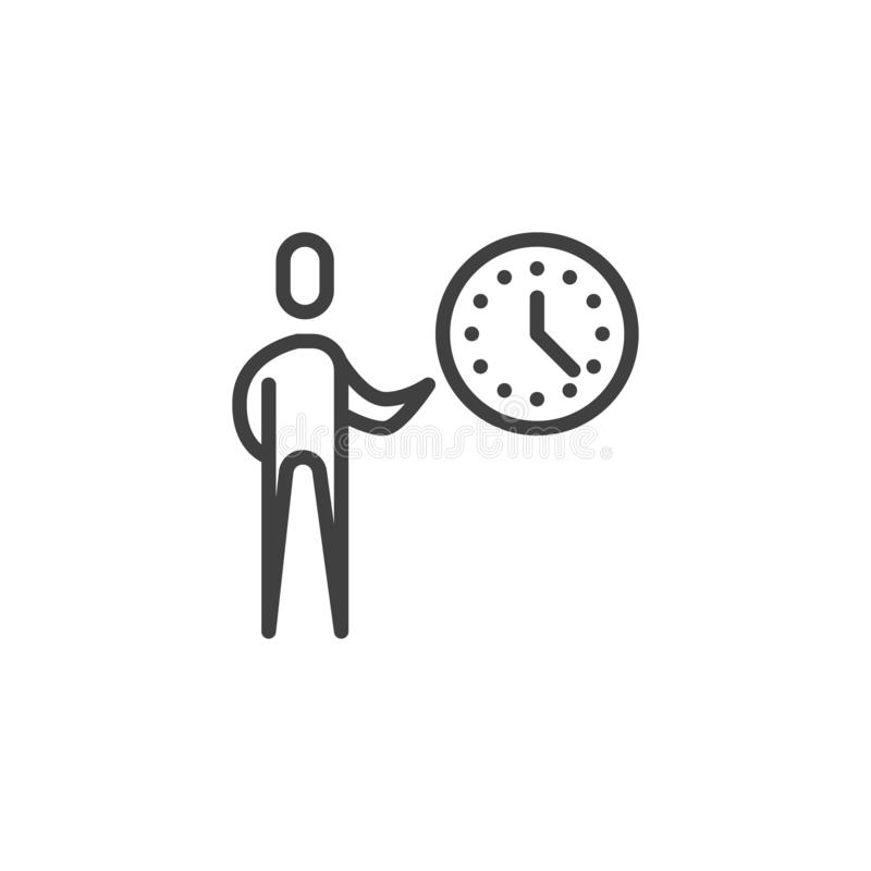 Time management line icon stock illustration