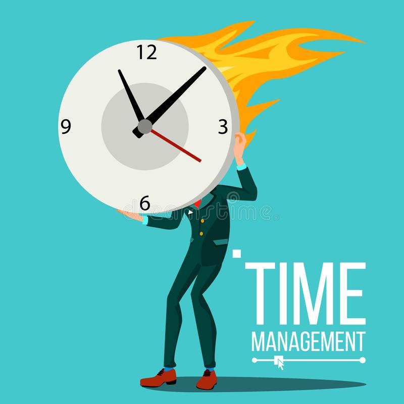 Time Management Man Vector. Organization Of Work Process. Free Time. Business Illustration. Time Management Man Vector. Huge Clock, Watch. Control royalty free illustration