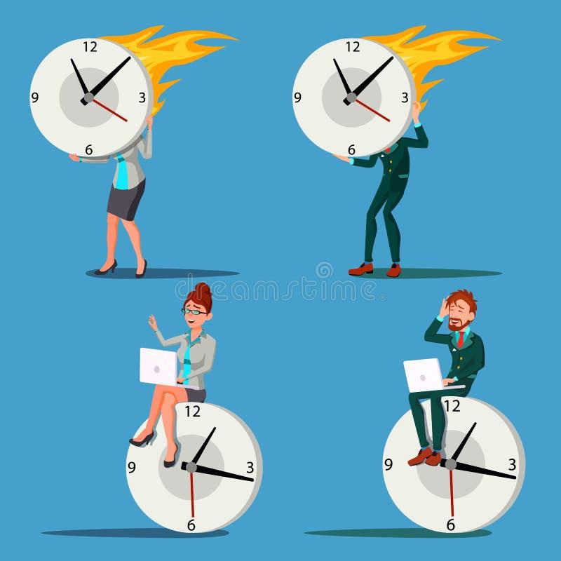 Time Management Man, Woman Vector. Procrastination. Control. Huge Clock, Watch. Business Illustration. Time Management Man, Woman Vector. Procrastination royalty free illustration