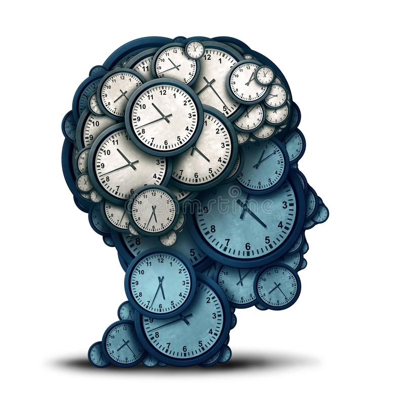 Time Management Mind. And business scheduling or deadline planning as a human brain made of clock objects as a 3D illustration royalty free illustration