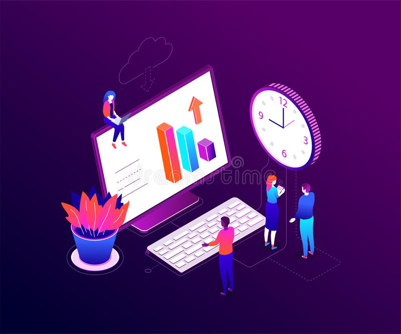 Time management - modern colorful isometric vector illustration. On purple background. A composition with business team, male, female colleagues, big clock stock illustration