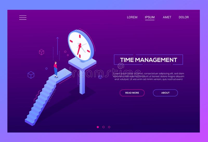 Time management - modern isometric vector web banner. On purple background with copy space for text. High quality composition with businesswoman, female manager royalty free illustration
