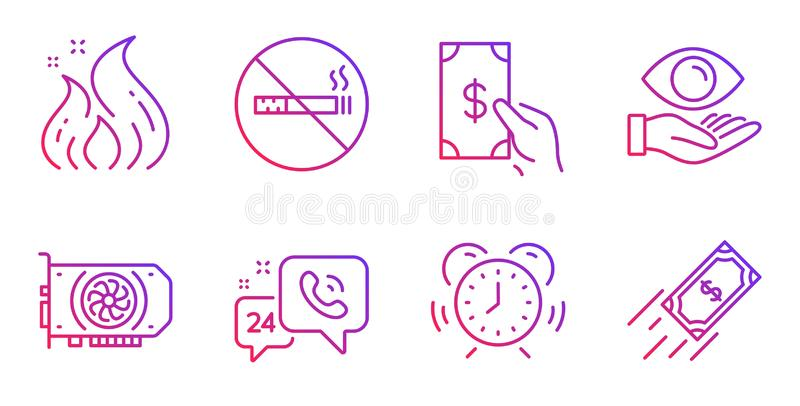 Time management, No smoking and Fire energy icons set. Health eye, Gpu and Receive money signs. Vector. Time management, No smoking and Fire energy line icons stock illustration