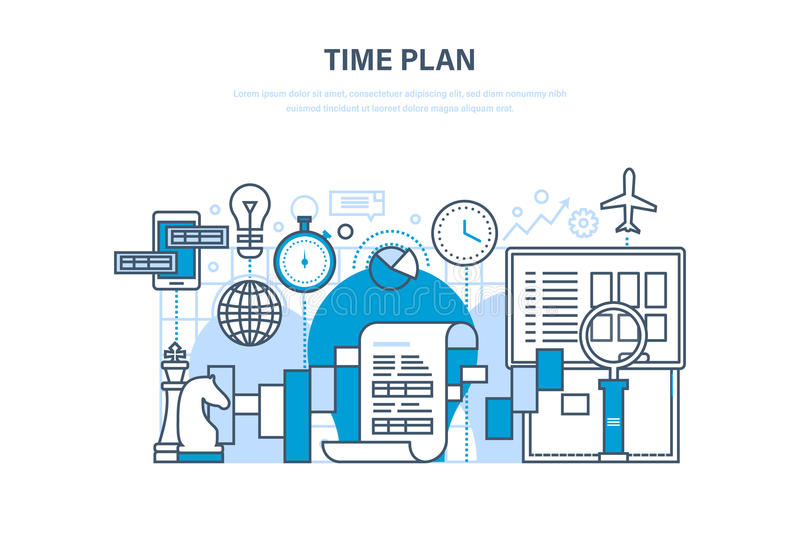Time management, planning, analysis, research, marketing strategy and business strategy. stock illustration