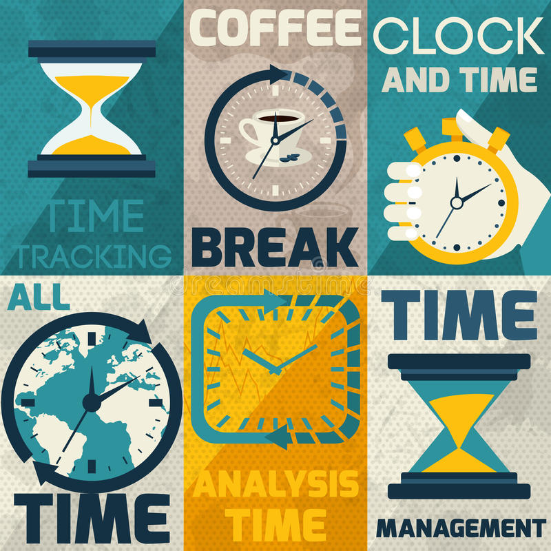 Time management poster royalty free illustration