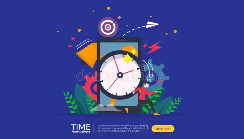 Time management and procrastination concept. planning and strategy for business solutions with clock, calendar and tiny people. Character for presentation royalty free illustration