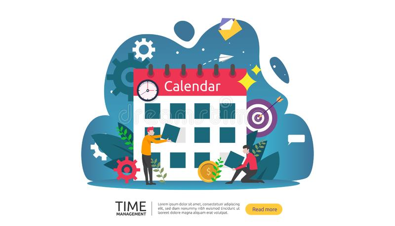 Time management and procrastination concept. planning and strategy for business solutions with clock, calendar and tiny people. Character for presentation stock illustration