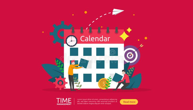 Time management and procrastination concept. planning and strategy for business solutions with clock, calendar and tiny people. Character for presentation vector illustration
