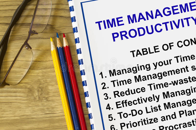 Time management and productivity- with table of contents royalty free stock image