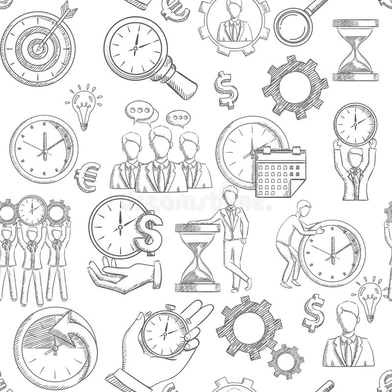 Time Management Seamless vector illustration
