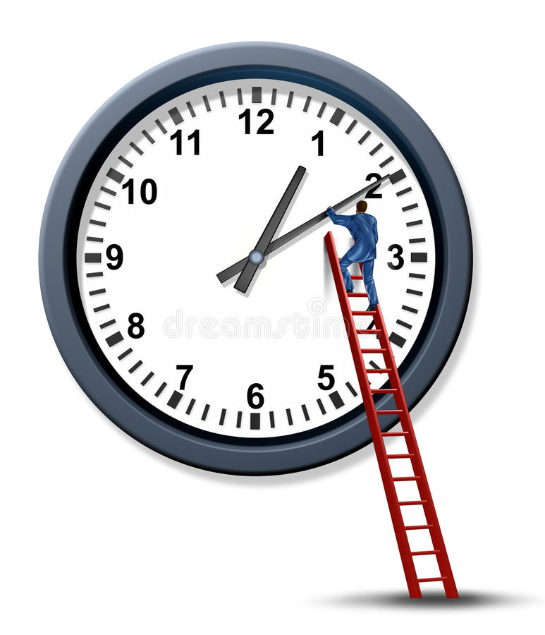 Time Management. And setting a time for a business appointment with a businessman as a personal organizer climbing a red ladder to change and move the hands of vector illustration