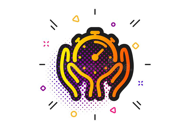 Timer icon. Time management sign. Stopwatch. Vector. Time management sign. Halftone circles pattern. Timer icon. Stopwatch symbol. Classic flat timer icon stock illustration