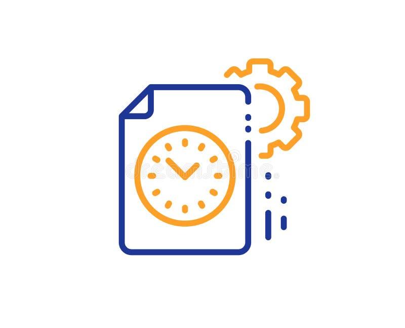 Project deadline line icon. Time management sign. File with gear. Vector. Time management sign. Project deadline line icon. File with gear symbol. Colorful vector illustration