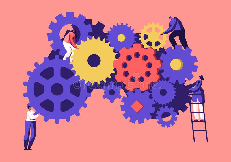 Time Management,Team Working Concept. Tiny Business People Men and Women Generating Ideas Holding Huge Gears and Cogwheels. Standing on Ladders, Alternative vector illustration
