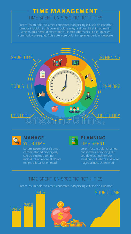 Time management tips infographic poster stock vector for Time for business