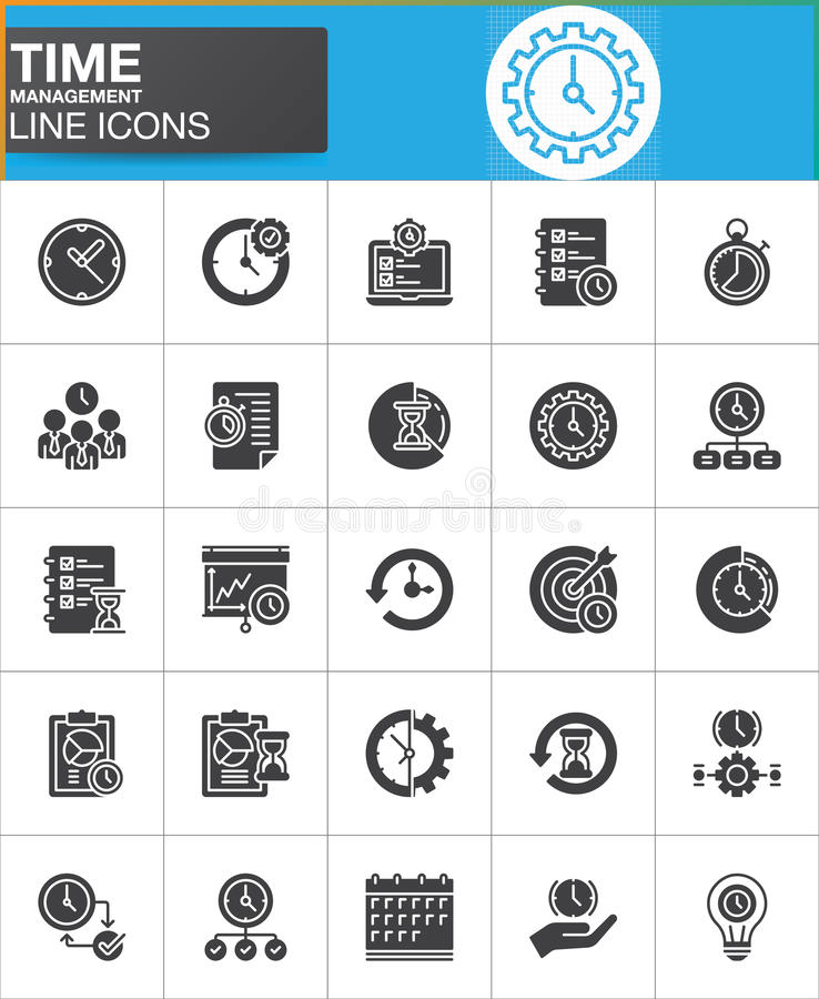 Time management vector icons set. Modern solid symbol collection, filled style pictogram pack. Signs, logo illustration. Set includes icons as timer, stopwatch royalty free illustration